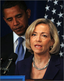 Nancy Killefer, seen here in Washington on Jan. 7 with President Obama, has withdrawn her name from candidacy for the position of chief performance officer.