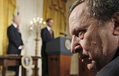 National Economic Council Director Lawrence Summers listens as President Obama and Vice President Biden speak about the Middle Class Working Families Task Force on Friday at the White House.