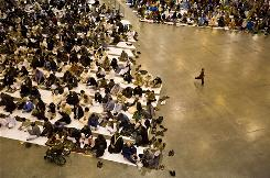 Thousands of members from 19 mosques gather as the Islamic Society of Greater Houston celebrates Eid-al Adha in December at the Reliant Center in Houston.