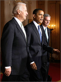 President Obama has nominated Sen. Judd Gregg, R-N.H., right, as commerce secretary. Here, the two are seen arriving for the announcement in the White House with Vice President Biden on Tuesday.