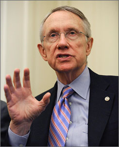 Senate Majority Leader Harry Reid, D-Nev., seen here speaknig about the economic stimulus on Thursday on Capitol Hill in Washington, reportedly will become a campaign target of Republicans in 2010.