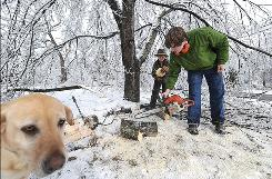Daniel Notterl and Cory Hurst work on cleaning up a yard on Maple Avenue in Danville, Ky., on Jan. 30 alongside their dog, Phoebe. The ice storm that struck wide swaths of the nation knocked out power to 1.3 million customers and as of Tuesday, more than 415,000 homes and businesses were still without power in Kentucky and Arkansas, which bore the brunt of the storms.