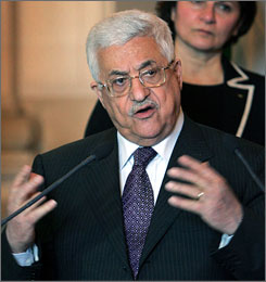 Palestinian President Mahmoud Abbas, seen here addressing the media in Paris, says there is room for reconciliation with Hamas.
