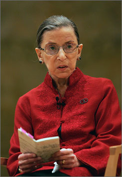 Supreme Court Justice Ruth Bader Ginsburg, seen here discussing constitutional law in Princeton, N.J., in October, reportedly has undergone surgery in New York for pancreatic cancer.