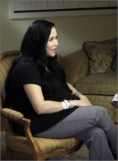 Nadya Suleman, left, speaking with Ann Curry in New York on Thursday, Feb. 5, 2009, in Suleman's first interview since giving birth to octuplets last week.