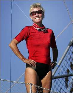 Jennifer Figge became the first woman on record to swim across the Atlantic Ocean.