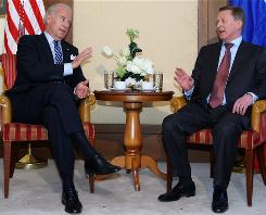 Vice President Biden and Russian Deputy Prime Minister Sergei Ivanov meet for bilateral talks in Munich on Saturday.