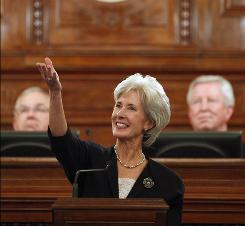 Kansas Gov. Kathleen Sebelius delivers her State of the State address in January.