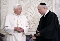 Rabbi Arthur Schneier, right, offers Pope Benedict XVI a seat during his first U.S. visit at the Park East Synagogue in New York, April 18. Schneier plans to bring more than 60 Jewish leaders to the Vatican on Thursday for a private audience with the pope.