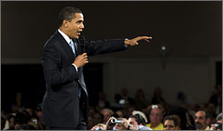 President Obama discussed the economy Tuesday during a town-hall-style meeting in Fort Myers, Fla.