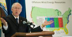 Secretary of the Interior Ken Salazar speaks during a news conference at the Department of the Interior in Washington, DC, on Feb. 10. He announced that he will delay implementation of an offshore-drilling plan that was made in the waning days of the Bush administration.