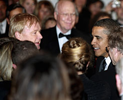 President Obama, right, greets political commentator Chris Matthews at a celebration of the Lincoln Bicentennial and Ford's Theatre Grand reopening in Washington, D.C., on Wednesday.