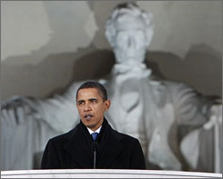 Barack Obama speaks at the Lincoln Memorial on Jan. 18 during inaugural celebrations.