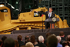 President Obama speaks to workers at a Caterpillar plant about creating jobs and stimulating the economy on Thursday in East Peoria, Ill. Stung by the global recession, Caterpillar announced in January it would cut more than 20,000 jobs.