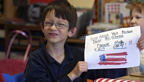 "Aaron Van Blerkom, 7, of Pasadena, Calif., is among 150 or more kids ages 5-12 whose ""Dear Mr. President"" letters and drawings were collected in an e-book available for free download beginning Monday, Presidents Day. A special hardcopy edition will be sent to the White House for their 44th commander in chief."