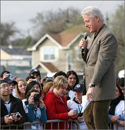 Former President Bill Clinton, seen here speakinng in Austin, Texas, on Sunday, says President Obama is off to a good start.