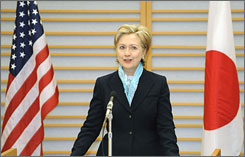 Secretary of State Hillary Clinton delivers a speech upon her arrival at Tokyo's Haneda Airport on Monday.
