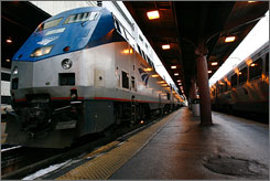 President Obama's stimulus package includes expansion plans for passenger trains. Here, an Amtrak train arrives in Washington from Chicago on February 2007.