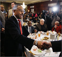 Sen. Roland Burris, D-Ill., addressed a luncheon in Chicago on Wednesday.