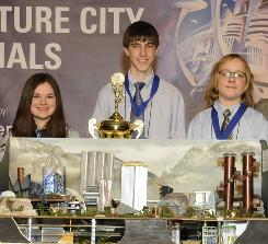 Abby Sharp, 14, left, Tom Krajnak, 14, and Wyatt Peery, 13, of Bexley Middle School in Ohio designed a city that conserves, recycles and reuses water sources.
