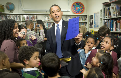 President Obama meets with second-graders Feb. 3 during a surprise visit at the Capital City Public Charter School in Washington.