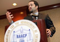 NAACP President and CEO Benjamin Todd Jealous calls for a boycott of the New York Post and the removal of editor-in-chief Col Allan during the annual meeting of the National Association for the Advancement of Colored People.