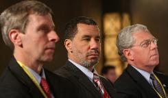 New Hampshire Gov. John Lynch, left, New York Gov. David A. Paterson, center, and Rhode Island Gov. Donald L. Carcieri, right, look on during the 2009 National Governors Association winter meeting on Feb. 21 in Washington.
