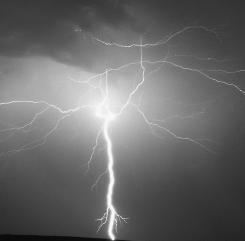 A bolt of lightning captured with a digital still camera ...