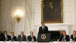 President Obama addresses a meeting of the National Governors Association at the White House in Washington on Monday morning.