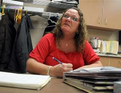 Donna Sharp, 44, prepares to take the GED in a class at the Elkhart Career Center in Elkhart, Ind.
