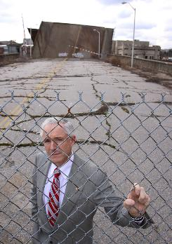 Bridgeport, Conn., Mayor Bill Finch, in front of the Congress Street Bridge, has been pushing for funds to repair the 99-year-old structure.