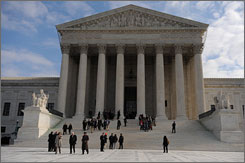 The Supreme Court, whose building in Washington is seen here, has ruled that states can block labor unions from letting workers use payroll deductions to pay for unions' political activities.