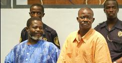 Sierre Leone rebel commanders Augustine Gbao, left, and Issay Sesay are shown in court June 3, 2004, in Freetown. A U.N.-sponsored war crimes court found the two guilty of crimes against humanity Wednesday.