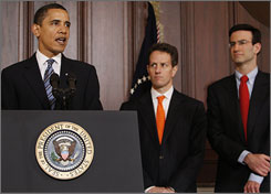 President Obama speaks about his fiscal 2010 budget Thursday at the White House as Budget Director Peter Orszag, right, Treasury Secretary Tim Geithner look on.