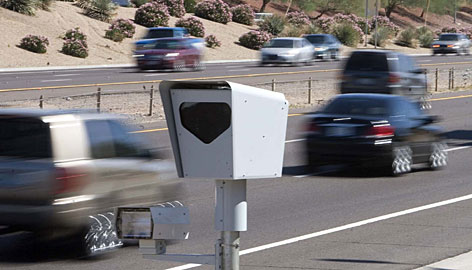 This speed camera monitors eastbound 101 near the 75th Avenue exit in Glendale, Ariz. The stateplans to have 60 stationary cameras and 40 more mobile cameras in vehicles on the roads this year.