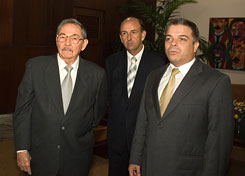 Cuban President Raul Castro, left, appears in this April 3, 2007 photo with Carlos Lage, center, and Felipe Perez Roque. Lage on Monday was removed from the post of cabinet secretary. Roque, who had been foreign minister, also was replaced.