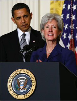 President Obama nominates Kansas Gov. Kathleen Sebelius to head the Department of Health and Human Services during a ceremony Monday at the White House.