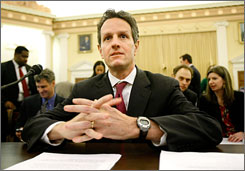Treasury Secretary Timothy Geithner went to Capitol Hill on Tuesday to defend President Obama's proposed federal budget to the House Ways and Means Committee.