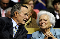 Former U.S. President George H.W. Bush, left, and former first lady Barbara Bush are seen at the Republican National Convention in St. Paul, on Sept. 2. A family spokesman said Wednesday that Barbara Bush had successful open heart surgery.