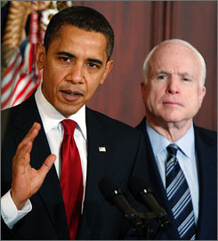 President Obama signed a memo Wednesday for a new plan to remove fraud from the federal contracting system. Here, Obama is joined at the Eisenhower Executive Office Building in Washington with his former campaign rival, Sen. John McCain, R-Ariz..