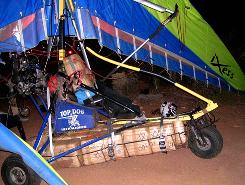There were 350 pounds of marijuana strapped to this ultralight, which clipped power lines near a Tucson casino in December before crashing. It was being trailed by three government helicopters and an unmanned, remotely flown government aircraft. The pilot, a Mexican national, was seriously injured.