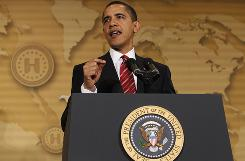 President Barack Obama speaks about education at the 19th Annual Legislative Conference of the United States Hispanic Chamber of Commerce in Washington..