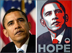 The artwork, right, was based on an April 2006 picture, left, taken for the AP by Mannie Garcia, was a popular image during the presidential campaign.