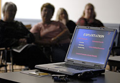"Parents listen to a seminar conducted by Connecticut State Police cybercrimes unit in Windsor Locks, Conn., on teens' increasingly common habit of distributing nude self-portraits electronically often called ""sexting"" if it's done by cellphone."