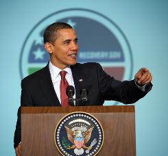 President Obama speaks during the Recovery Act Implementation Conference on March 12 in the Eisenhower Executive Office Building next to the White House.