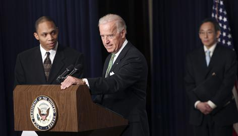 Vice President Joe Biden, center, opened a day-long White House conference with state officials aimed at making sure the stimulus funds are spent appropriately.