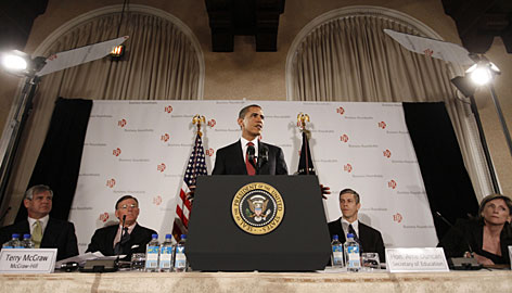 President Obama addresses Business Roundtable members in Washington last week. From left: John Castellani, the group's president, McGraw-Hill CEO Terry McGraw, Education Secretary Arne Duncan and energy czar Carol Browner.