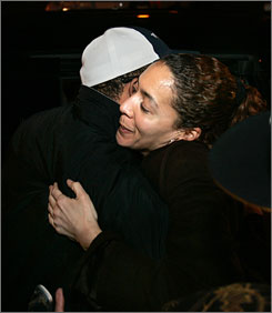 Christine Beatty, former aide to ex-Detroit mayor Kwame Kilpatrick, hugs a friend after being released from jail in Detroit early Monday. She served 69 days for obstruction of justice.