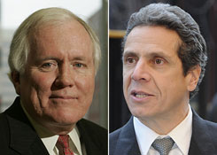 AIG chief Edward Liddy, left, faces grilling by a House panel on Wednesday. New York Attorney General Andrew Cuomo, right, is investigating whether AIG's bonuses violate state law.