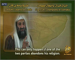 Al-Qaeda lader Osama bin Laden is seen in a handout photo which accompanied a new audio message released Thursday.